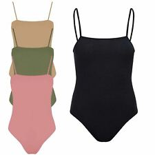 New Ladies Ribbed Square Neck Cami Strappy Body Top Leotard Bodysuit