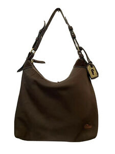 DOONEY & BOURKE Brown Nylon Leather Trim HOBO Shoulder Bag