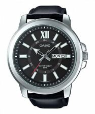 NEW 52mm Casio MTP-X100L-1A Men's XL Watch BLACK Leather BLACK Dial Day Date