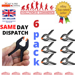 6 x PLASTIC SPRING GRIP CLAMPS Quick Grip Craft Wood Work Clamp Market Stall UK