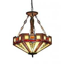 Tiffany Style 3 Light Hanging Ceiling Pendant Beige Brown Stained Glass