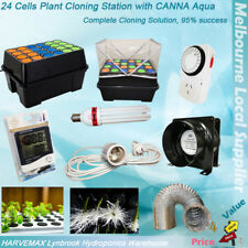 Hydroponic 24 Cells Plant Clone System Cloning Station Grow Light Fan Timer Duct