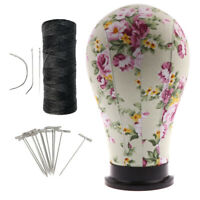 """23"""" Canvas Mannequin Head with Stand, Thread for Wig Making Hat Display + T Pins"""