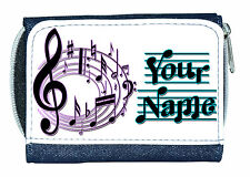 MUSICAL NOTES PERSONALISED DENIM PURSE / MINI WALLET *GREAT NAMED GIFT/PRESENT*