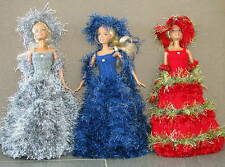 3 robes longues pour la barbiee princesse chapeau boa uniques made in France /2