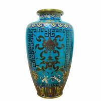 Antique Chinese Bronze Blue Cloisonne Enamel Floral Flower Design Vase