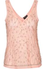 TOPSHOP PEACH BEADED SEQUIN TOP 12 BNWOT RRP £36