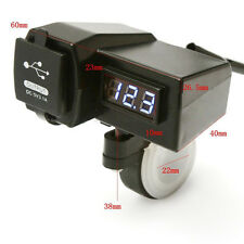 Motorcycle GPS Cell Phone USB Power Socket Charger+Bule LED Voltage Voltmeter *1