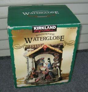 Musical Lighted Kirkland Window Pane Water Globe Nativity Christmas in Box Music