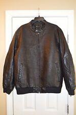 INC Men's Black Faux Leather Jacket, US X-Large