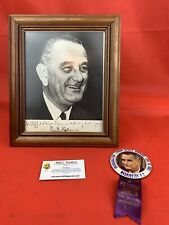 Original LBJ Autograph Dedication Photo With Inauguration Pin President Vietnam