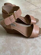 Steve Madden Nevrstp Brown Nude Leather Ankle Strap Sandal Wedges sz 7