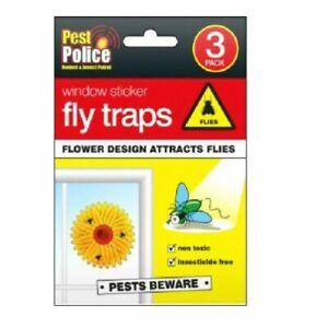 6 Fly Catchers Window Flower Traps Stickers Bug Insect Killer Sticky Window Trap