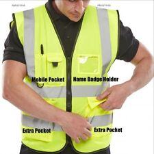 BSafe Hi Vis Viz Safety Vest Waistcoat High Visibility Reflective Yellow Jacket