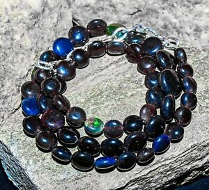 Awesome natural black opals necklace unusual unique