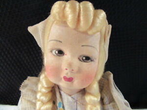 Chad Valley England Hygienic Toys Dutch Girl Doll Glass Eyes Felt