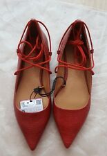 ZARA NEW RED EMBOSSED LACE-UP BALLET FLATS SIZE UK 2 EU 35