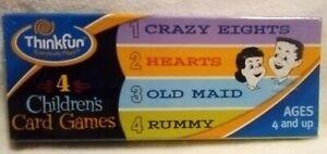 Thinkfun 4 Children's Card Games Old Maid Animal Rummy Hearts Crazy Eights NOS