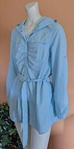 L.L.Bean Hiking Fishing Outdoors Hooded Long Sleeve Shirt Women's Size M Blue