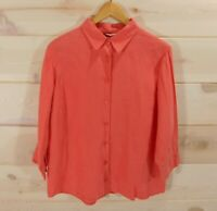 LL Bean Women's Sz L Reg Coral Linen Shirt 3/4 Sleeves Button Front