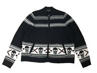 Women's Skull Cashmere Matilda Zip Sweater Black Size M Cardigan Intarsia $450