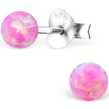 Sterling Silver pink Opal stud earrings quality jewellery UK october birthstone