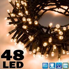 CATENA LUMINOSA 5 MT LUCI NATALE 48 LED A BATTERIA BIANCO CALDO INTERNO ESTERNO