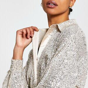 RIVER ISLAND Silver Sequin Shirt Long Sleeve UK SMALL (GENEROUS) US S EU 2 RP£50