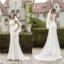 New lace White/ivory Wedding dress Bridal Gown custom size 6-8-10-12-14-16-18+