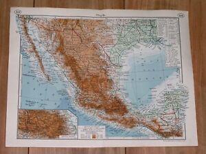 1938 ORIGINAL VINTAGE MAP OF MEXICO / OAXACA GUERRERO HIDALGO POTOSI / TEXAS