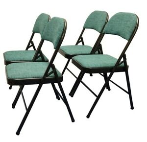Meta Deluxe Green Fabric Padded Folding Chair Comfortable Seat (4 Piece Set)