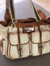 Authentic Christian Dior Beigew/ Brown Leather Shoulder Bag/Purse Made In Italy