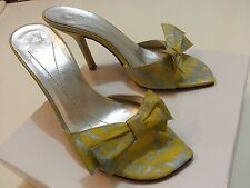KATE SPADE New York Yellow Silver Canvas Bow Heeled Sandals Leather Sole Sz 6 B