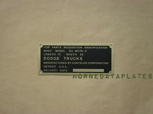 DODGE WC-51 WC-52 3/4 TON 09179-Z BODY DATA PLATE PICKUP WEAPON CARRIER ID TAG