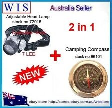 77mm Stainless Steel Camping Compass With Glass Lens&7 LED Adjustable Head-lamp