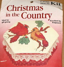 "Red Christmas Cardinals / Birds Cross Stitch Box Kit Nip 6"""