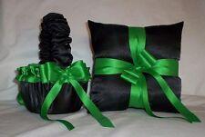 Black Satin / Kelly Green Trim Flower Girl Basket & Ring Bearer Pillow