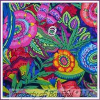 BonEful FABRIC FQ Cotton Quilt Rainbow L Flower Gypsy Leaf Red Pink Retro Hippie