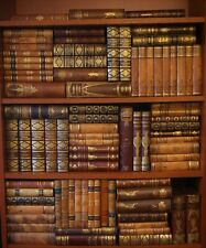 84 ANTIQUE LEATHER BOOKS - INTERIOR DESIGN - 10 FEET OF LENGTH - FREE SHIPPING
