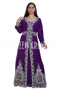 New Dubai Moroccan Purple Floor Length Kaftan Arabic Islamic Wedding Gowm Dress
