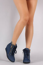 New Women Lace Up Fashion Sneaker Ankle Booties Boot High Top Med Low Wedge Heel