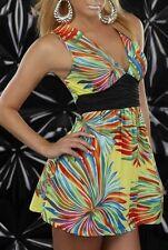 Sexy Miss Femme Mini Robe V Décolleté Girly Été XS/S NEUF Top Jaune Multicolore