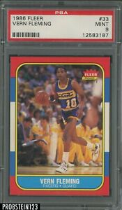 1986 Fleer Basketball #33 Vern Fleming Indiana Pacers PSA 9 MINT