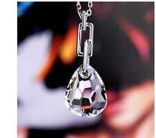 swarovski drop in ocean-cut clear crystal galet pendant