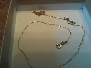 """10k Yellow Gold 12"""" Chain With 2 Dolphin Charms"""