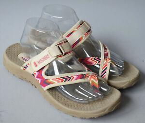 Ladies Skechers Outdoor Lifestyle Beige & Pink Toe Post Sandals Size UK 6