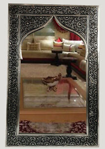 mirror wall frame vintage Framed art glass carved moroccan handmade 10''16''