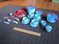 Pretend Dishes Pots Blue Red Dots ELC Cute Set Play Utensils Cups CUTE Free Ship