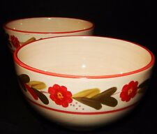 2 Ballard Designs Country Flower Soup Bowls Red Rimmed  Hand Painted Stoneware