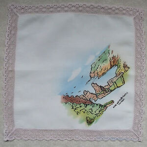 Vintage Handkerchief MENS Hankie Top Pocket Square KING ARTHUR'S CASTLE TINTAGEL